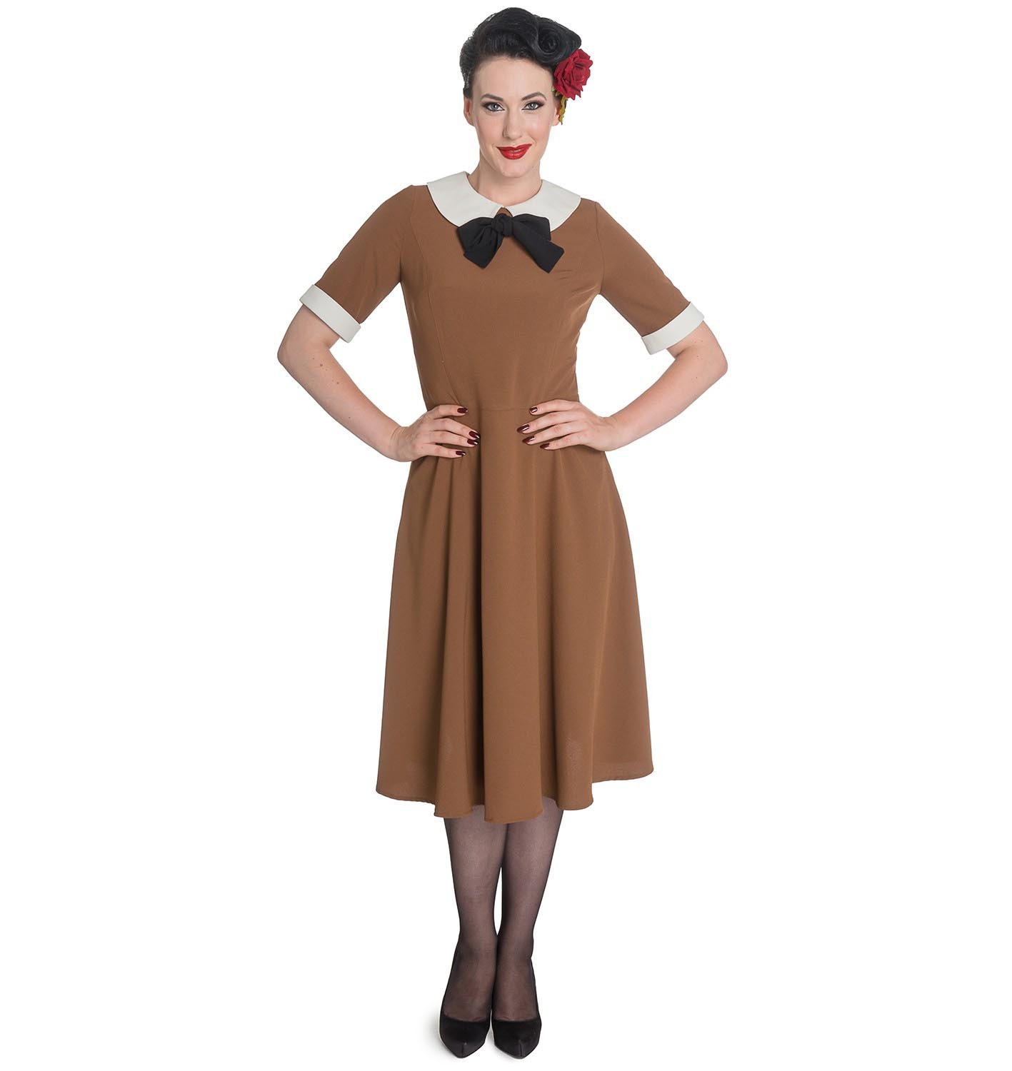 Hell-Bunny-Vintage-Pin-Up-Tea-Dress-40s-50s-KIM-Tobacco-Brown thumbnail 3