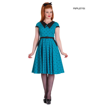 Hell Bunny Vintage Rockabilly 50s Dress BROOKE Polka Dot Blue