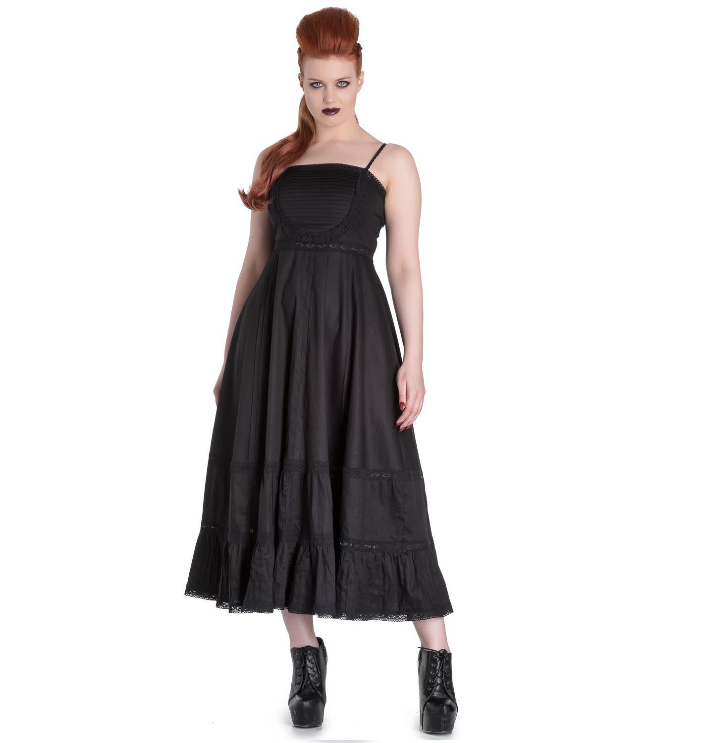 Hell-Bunny-Spin-Doctor-Goth-Maxi-Dress-ELIZABELLA-Black-All-Sizes thumbnail 3