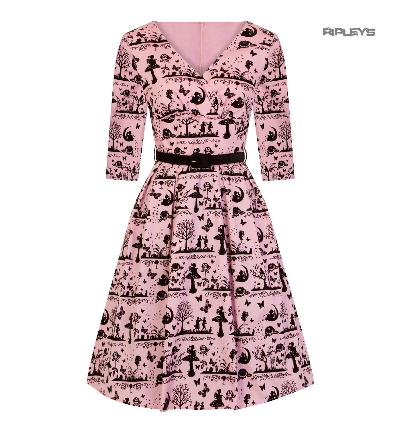 Hell-Bunny-40s-50s-Pin-Up-Dress-Fairy-Butterfly-ANDERSON-Black-Pink-All-Sizes thumbnail 2