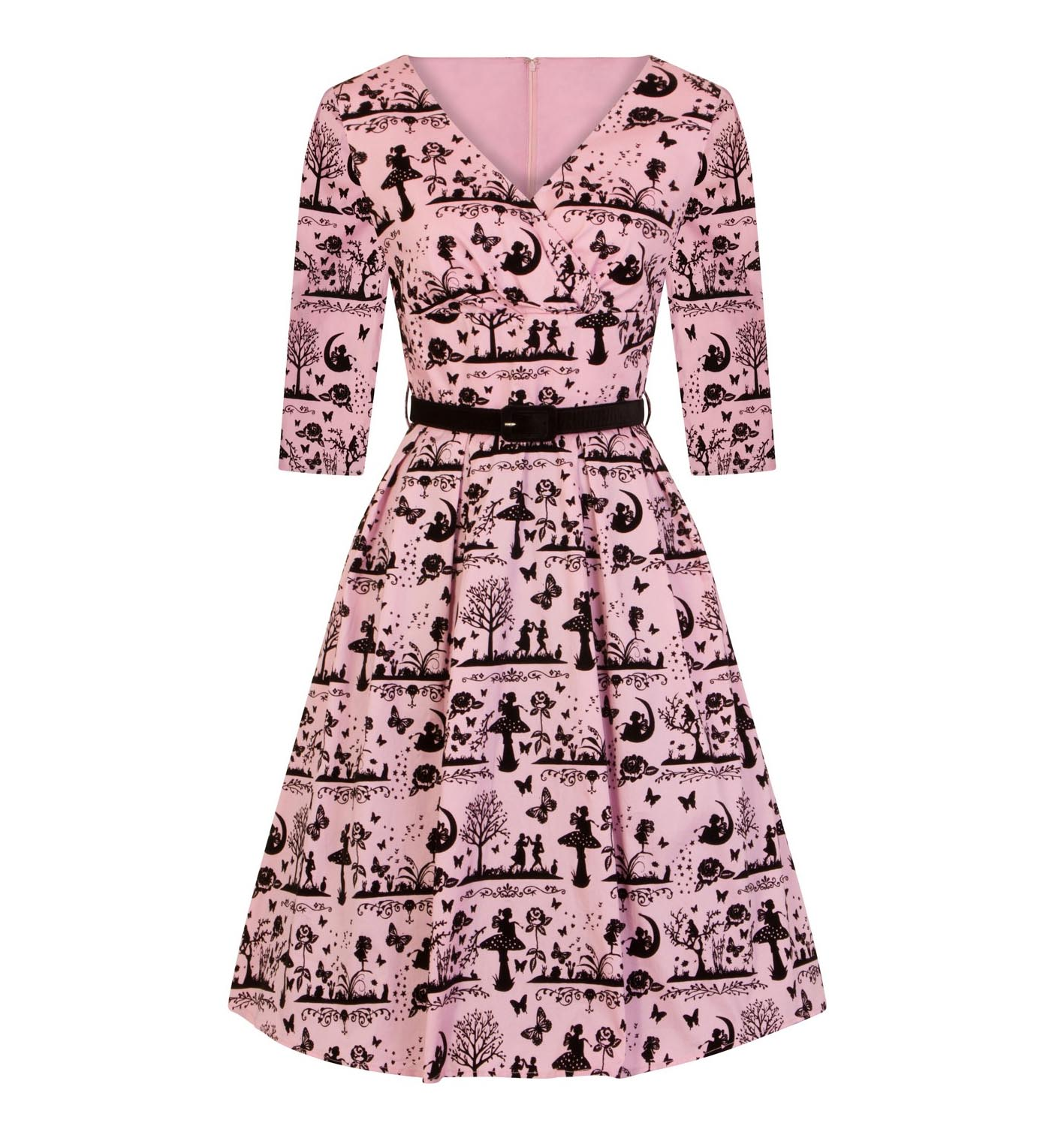 Hell-Bunny-40s-50s-Pin-Up-Dress-Fairy-Butterfly-ANDERSON-Black-Pink-All-Sizes thumbnail 7