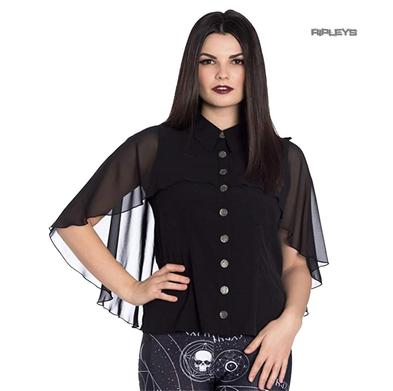 Hell Bunny Elegant Shirt Gothic Vampire Top DRACO Blouse Chiffon All Sizes