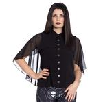 Hell Bunny Elegant Shirt Gothic Vampire Top DRACO Blouse Chiffon All Sizes Thumbnail 2