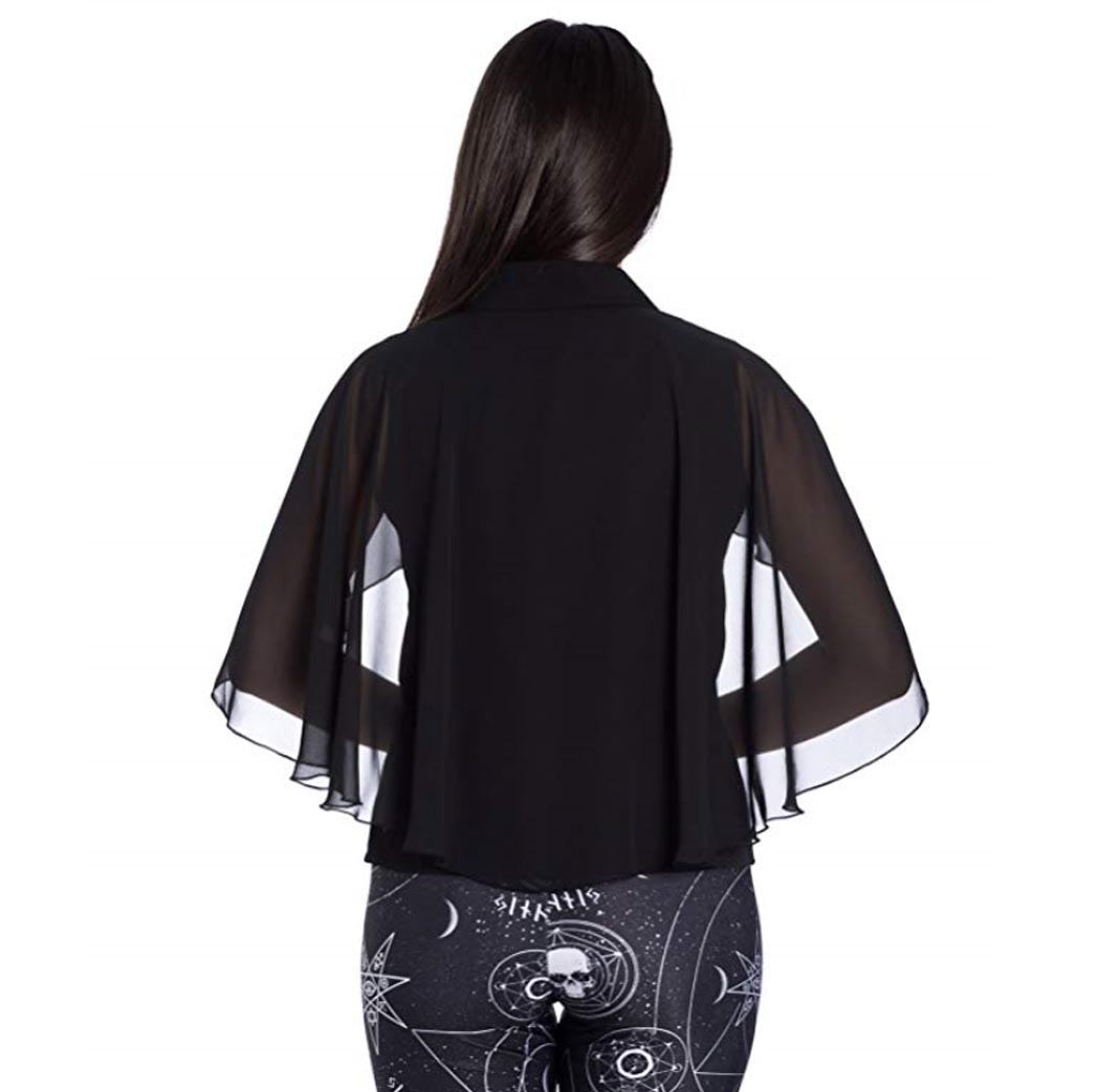 Hell-Bunny-Elegant-Shirt-Gothic-Vampire-Top-DRACO-Blouse-Chiffon-XS-8-LAST-ONE thumbnail 5