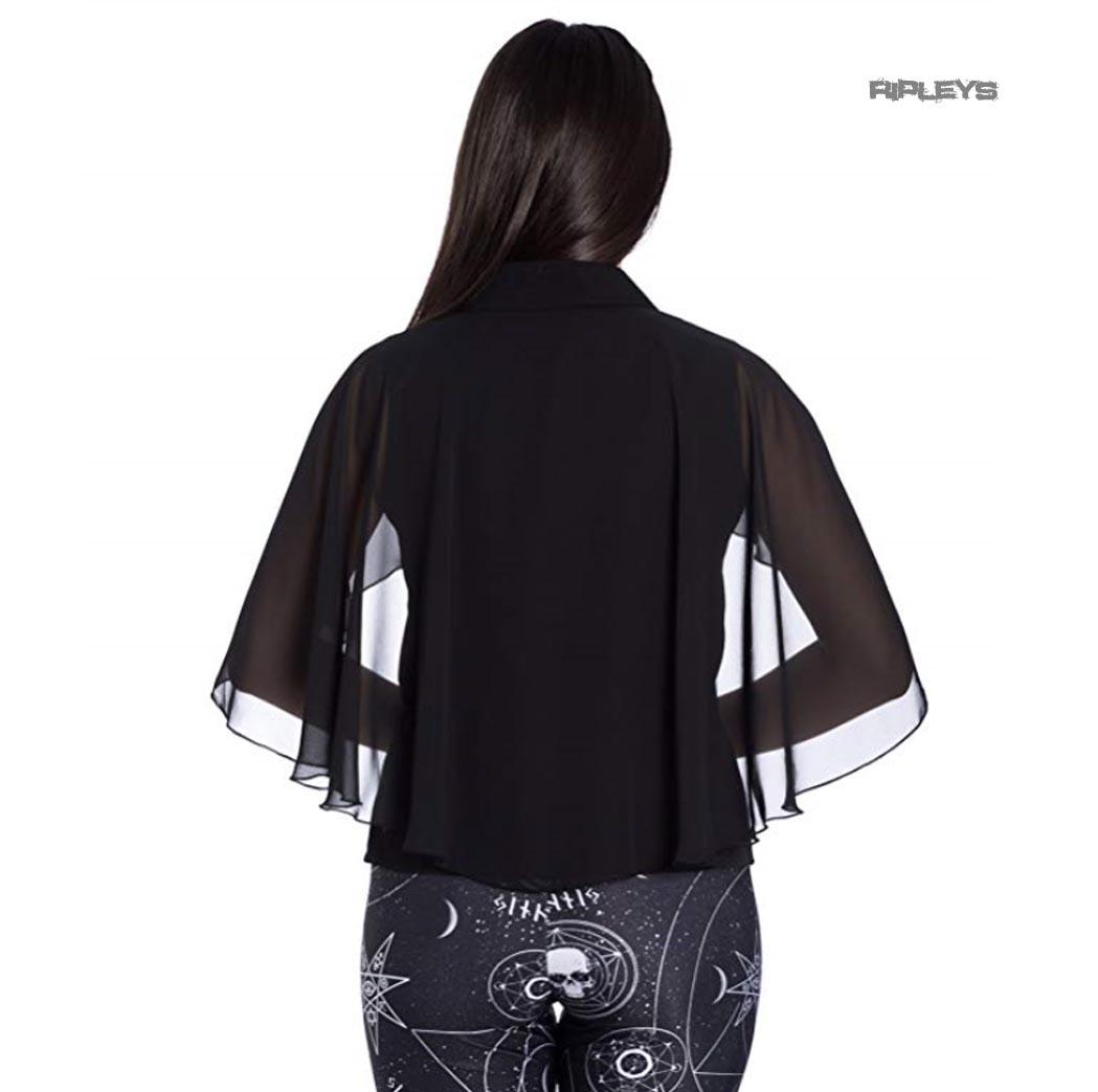 Hell-Bunny-Elegant-Shirt-Gothic-Vampire-Top-DRACO-Blouse-Chiffon-XS-8-LAST-ONE thumbnail 4
