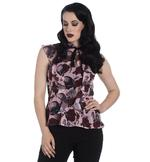 Hell Bunny Shirt Gothic Top Dusty Pink SULLEN Skulls Roses Chiffon Blouse All Si Thumbnail 2