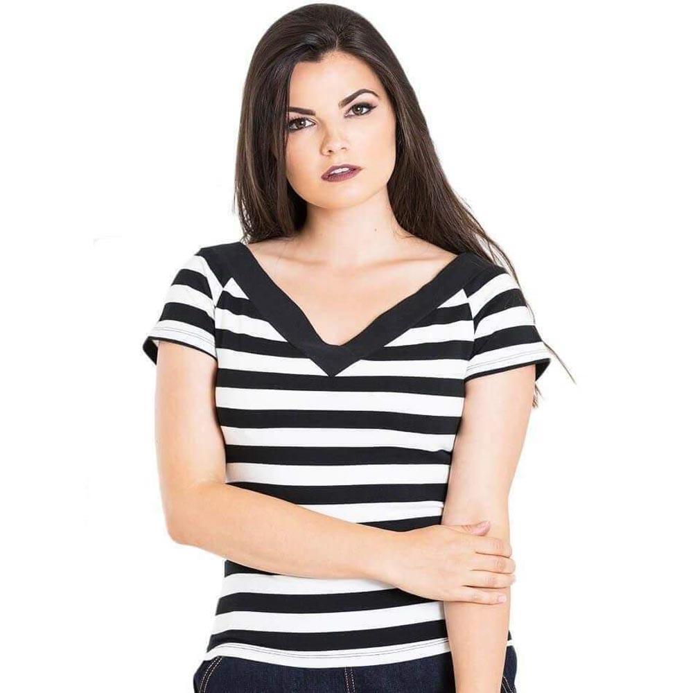 Hell Bunny Rainbow Black Striped Retro Rockabilly Casual Striped Tshirt Top