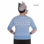Hell Bunny Winter Christmas Jumper KATHERINE Snowflake Sky Blue All Sizes Thumbnail 3