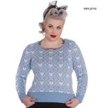 Hell Bunny Winter Christmas Jumper AURORA Snowflake Sky Blue All Sizes Thumbnail 1