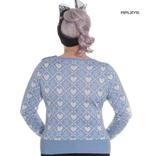 Hell Bunny Winter Christmas Jumper AURORA Snowflake Sky Blue All Sizes Thumbnail 3