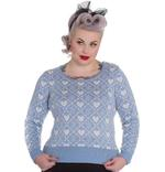 Hell Bunny Winter Christmas Jumper AURORA Snowflake Sky Blue All Sizes Thumbnail 2