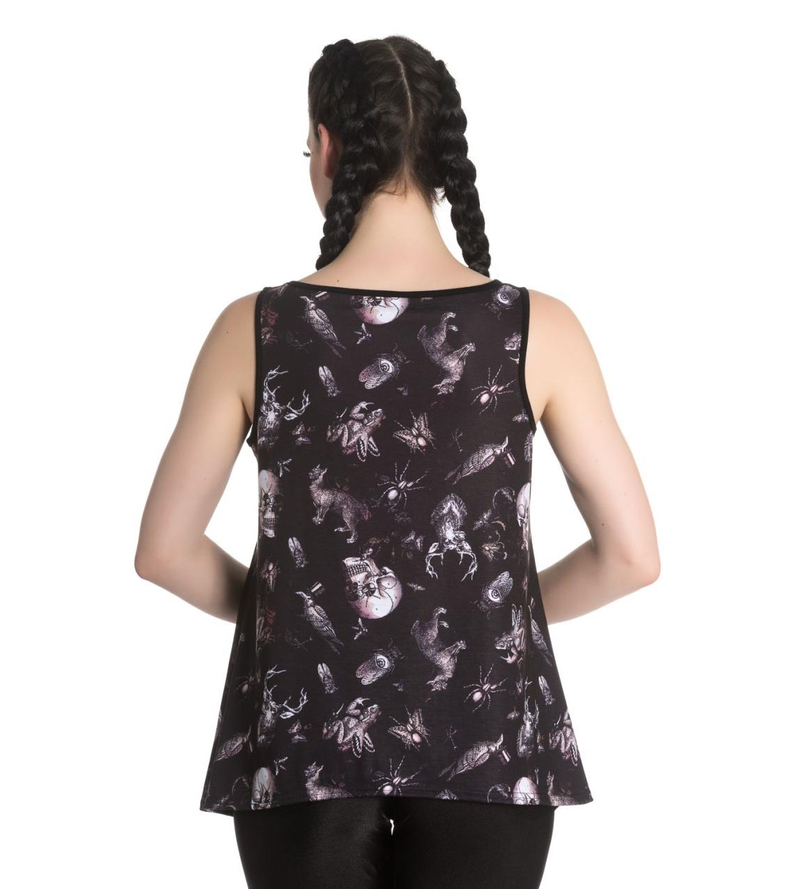 Hell-Bunny-Black-Vest-Cami-Top-Goth-Witch-DARWIN-Taxidermy-Skulls-All-Sizes thumbnail 5