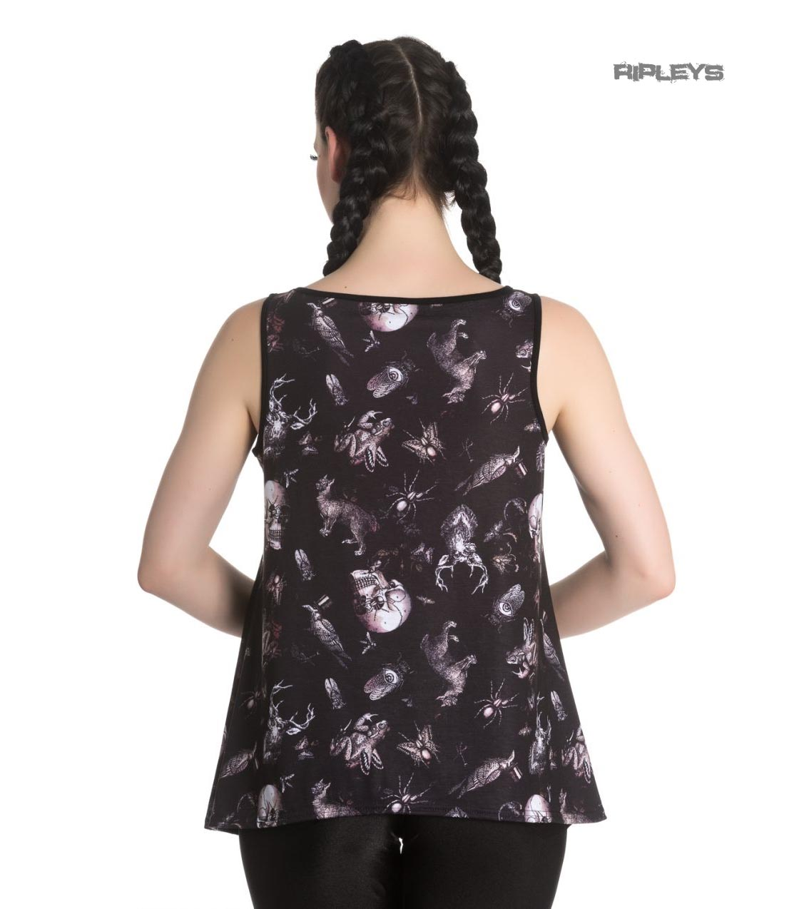 Hell-Bunny-Black-Vest-Cami-Top-Goth-Witch-DARWIN-Taxidermy-Skulls-All-Sizes thumbnail 4