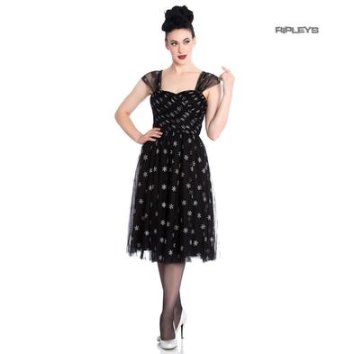 Hell Bunny 50s Black Christmas Dress SNOWSTAR Glitter Snowflakes All Sizes