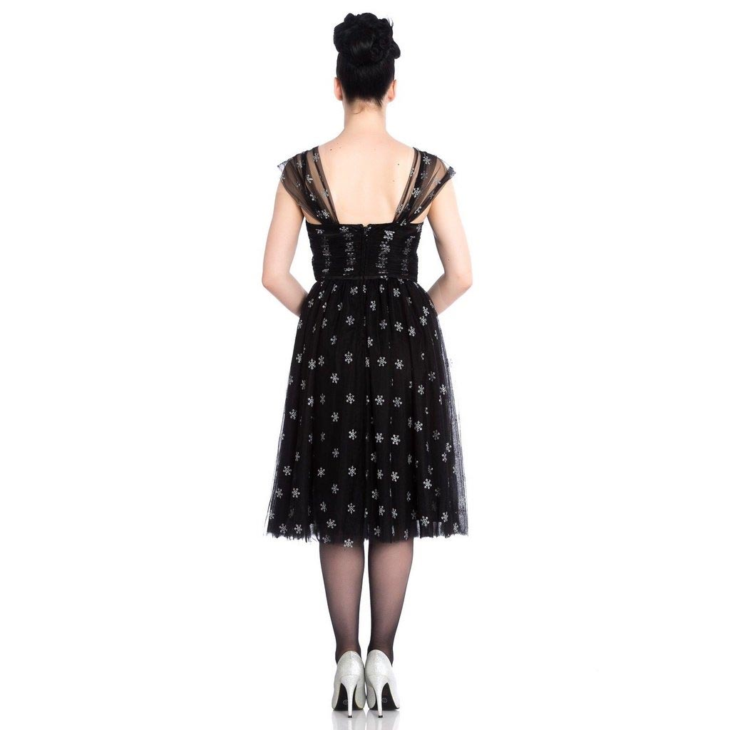 Hell-Bunny-50s-Black-Christmas-Dress-SNOWSTAR-Glitter-Snowflakes-All-Sizes thumbnail 5