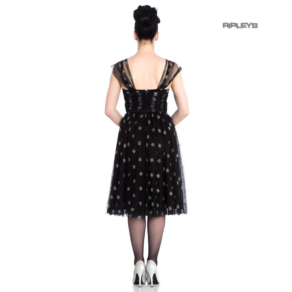 Hell-Bunny-50s-Black-Christmas-Dress-SNOWSTAR-Glitter-Snowflakes-All-Sizes thumbnail 4