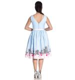 Hell Bunny Pinup Vintage Blue Pink Polka Dot PANAME 50s Dress Paris All Sizes Thumbnail 4