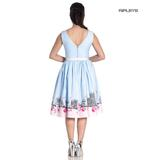 Hell Bunny Pinup Vintage Blue Pink Polka Dot PANAME 50s Dress Paris All Sizes Thumbnail 3