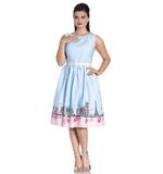 Hell Bunny Pinup Vintage Blue Pink Polka Dot PANAME 50s Dress Paris All Sizes Thumbnail 2