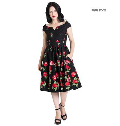 Hell Bunny 50s Dress Floral Roses MARLENA Rockabilly Pin Up Black All Sizes Preview