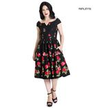 Hell Bunny 50s Dress Floral Roses MARLENA Rockabilly Pin Up Black All Sizes Thumbnail 1