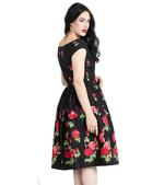 Hell Bunny 50s Dress Floral Roses MARLENA Rockabilly Pin Up Black All Sizes Thumbnail 4