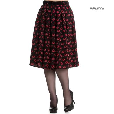 Hell Bunny 50s Pin Up Black Skirt SULPICIA Red Vampire Lips All Sizes