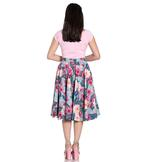 Hell Bunny Pin Up Vintage 50s Skirt Blue Pink LOTUS Floral Flowers All Sizes Thumbnail 4