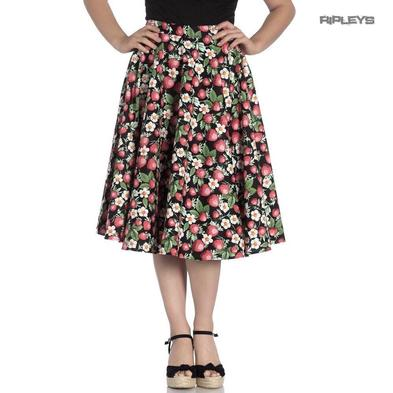Hell Bunny Pin Up Vintage 50s Skirt STRAWBERRY Sundae Black All Sizes Preview