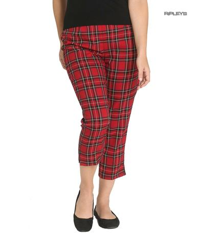 Hell Bunny 40s 50s Red Tartan Peebles IRVINE Cigarette Capris Trousers All Sizes