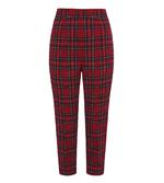 Hell Bunny 40s 50s Red Tartan Peebles IRVINE Cigarette Capris Trousers All Sizes Thumbnail 4