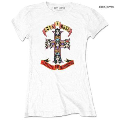 Official Skinny GUNS N ROSES T Shirt 'Appetite For Destruction' White All Sizes Preview