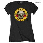 Official Skinny GUNS N ROSES T Shirt Top Classic Bullet LOGO Black All Sizes Thumbnail 1
