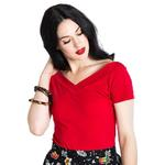 Hell Bunny Shirt 50s Rockabilly Shirt Top ALEX Jersey V Neck Red All Sizes Thumbnail 2
