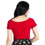 Hell Bunny Shirt 50s Rockabilly Shirt Top ALEX Jersey V Neck Red All Sizes Thumbnail 4
