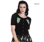 Hell Bunny Ladies 50s CACTUS Short Sleeved Cardigan Top Black Thumbnail 1