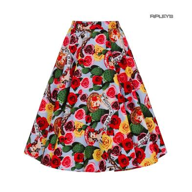 Hell Bunny Pin Up 50s Skirt MEXICO Floral Roses Dia De Los Muertos