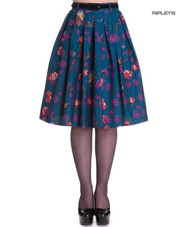 Hell Bunny 50s Pin Up Vintage Skirt Blue WOODLAND Flowers Birds