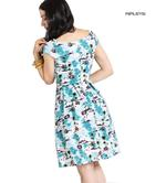 Hell Bunny 50s Vintage Holiday Summer Dress GRACE BAY Blue Waves Thumbnail 3
