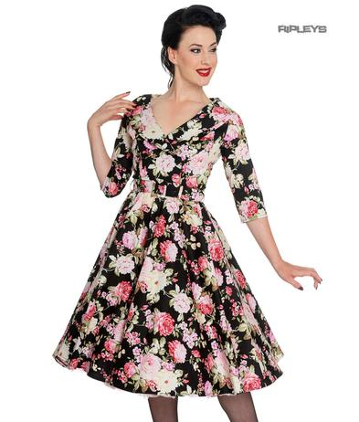 Hell Bunny 40s 50s Black Pin Up Swing Dress DAHLIA Pink Flowers