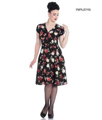 Hell Bunny 40s 50s Elegant Pin Up Dress VALENTINA Black Roses