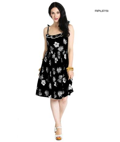 Hell Bunny Summer Pin Up 50 Dress TROPICANA Black Floral All Sizes