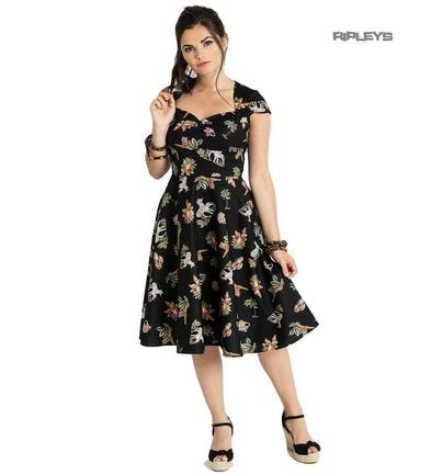 Hell Bunny Black Pinup 50s Dress MESSINA Vintage Africa Safari All Sizes