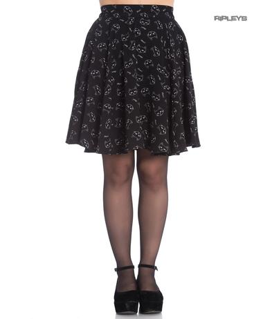 Hell Bunny Gothic Black Mini Skater Skirt MATOU Kitten Cat Faces All Sizes