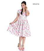 Hell Bunny 50s Dress Vintage Pin Up Rockabilly NATALIE Pink Roses  Thumbnail 1