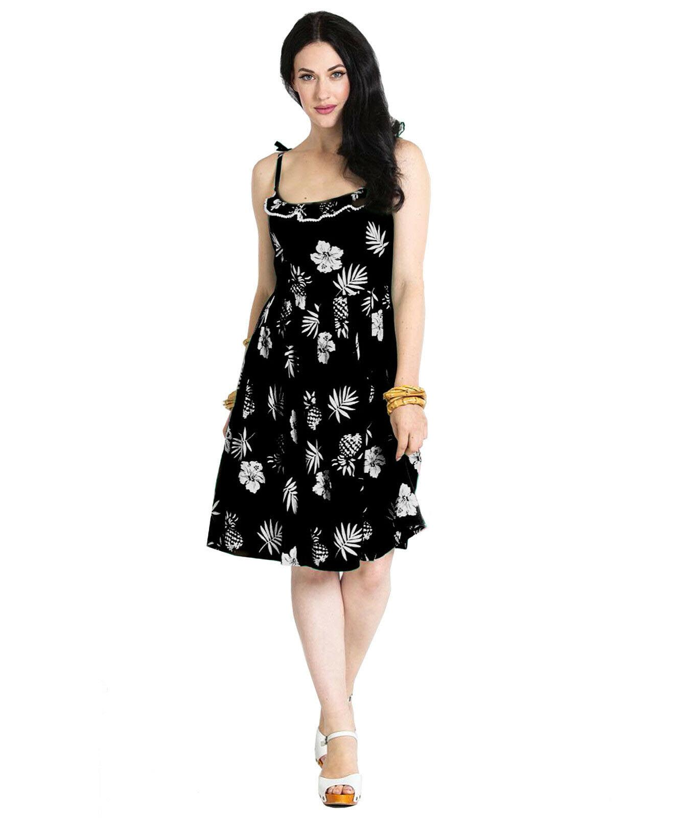 Hell-Bunny-Summer-Pin-Up-50-Dress-TROPICANA-Black-Floral-All-Sizes thumbnail 7