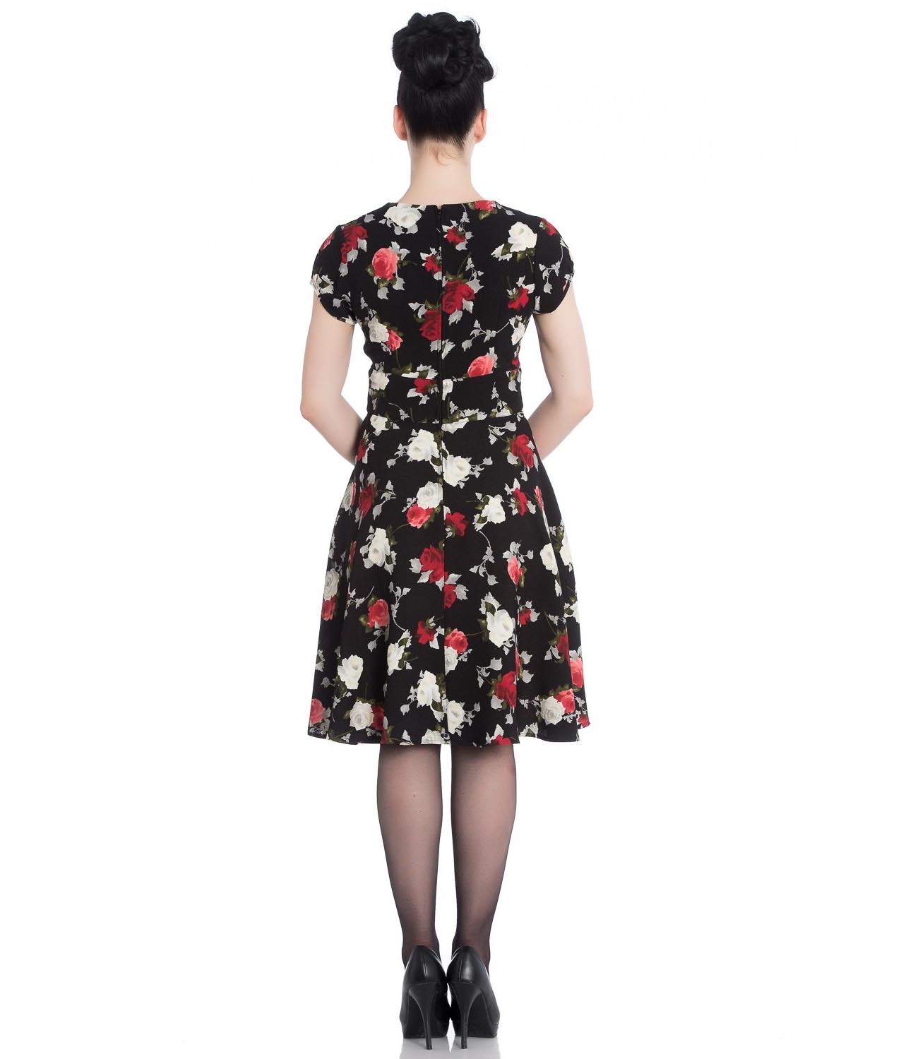 Hell-Bunny-40s-50s-Elegant-Pin-Up-Dress-VALENTINA-Black-Roses thumbnail 5