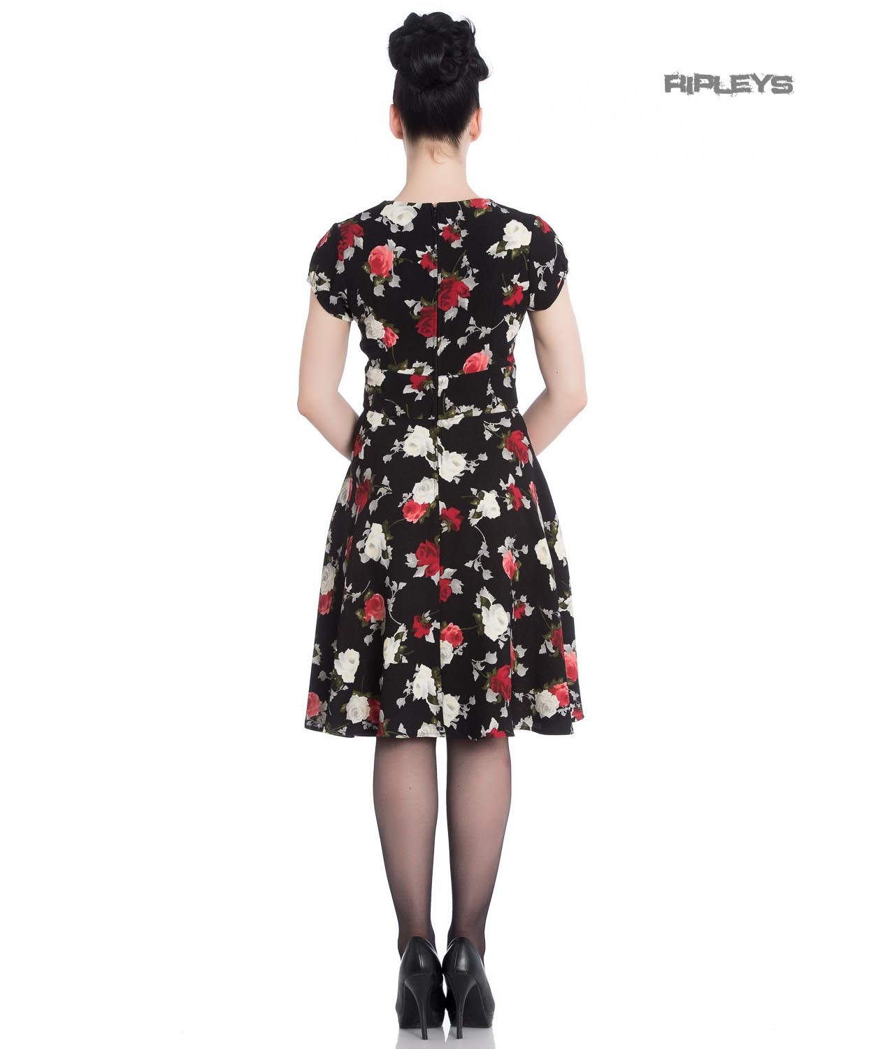 Hell-Bunny-40s-50s-Elegant-Pin-Up-Dress-VALENTINA-Black-Roses thumbnail 4