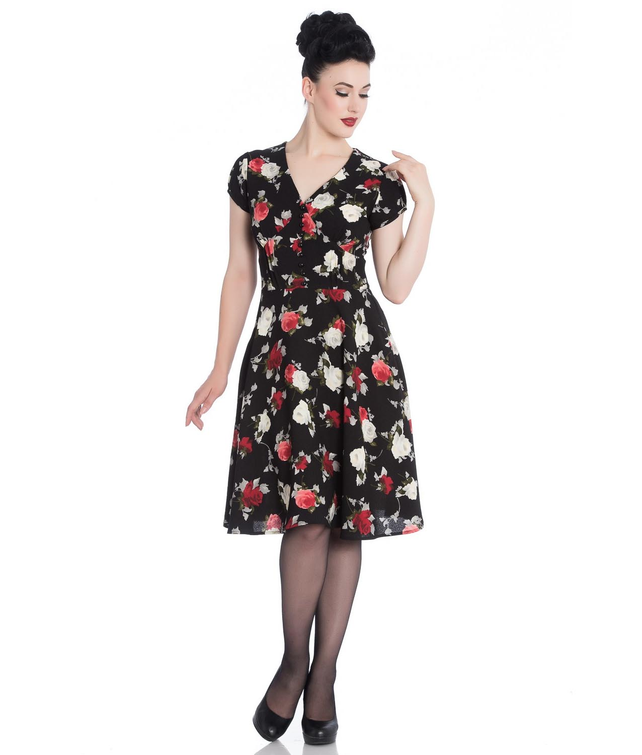 Hell-Bunny-40s-50s-Elegant-Pin-Up-Dress-VALENTINA-Black-Roses thumbnail 3