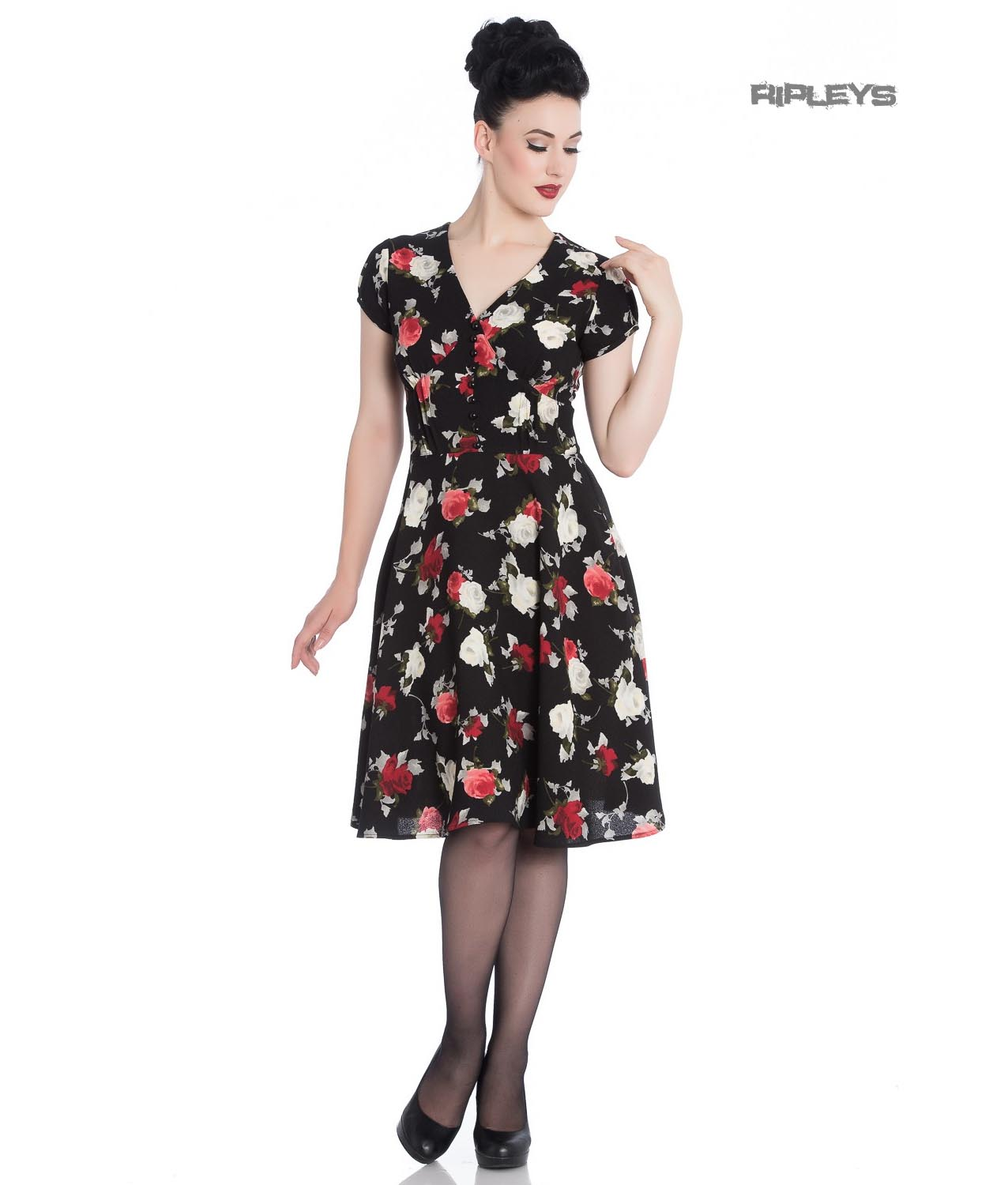 Hell-Bunny-40s-50s-Elegant-Pin-Up-Dress-VALENTINA-Black-Roses thumbnail 2